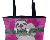 Sloth Tote Bag by Salvador Kitti - On Sale - Support Wildlife Conservation, Read How -From My Painting, Leisurely Life