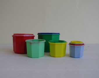 Vintage Plastic Stacking Cups, Learning Tower, 12 Cups
