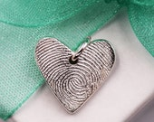 Fingerprint Mini Heart Charm  Custom made keepsake of pure .999 Fine Silver for Charm Bracelet, Pendant, Necklace Mother's Day Gift