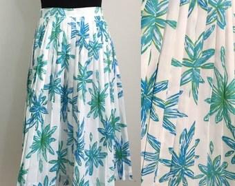 Floral Splash // 60s Pleated Summer Skirt Blue Green White