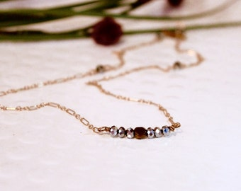 Brown and Pewter beaded 14K Gold Link Necklace