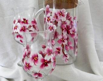 Cherry Blossom Pitcher and 2 Poco Grande Glasses