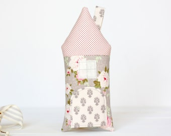 Tooth Fairy Pillow- House Cottage Stuffed Toy, Floral, Pink, Red, Gray, Girls, Children, Gift For Kids, Keepsake, Special Occasion