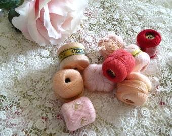 Vintage German Thread, Ackermann's Perlon Stopfgarn Pink Coral Red, Ackermanns Threads