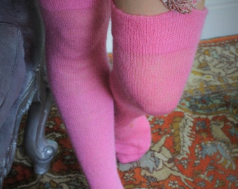 Thigh High stockings - Victorian Steampunk Edwardian OVER THE KNEE -Winter mohair candy pink stockings New Romantic Rock'nRoll Wedding boho