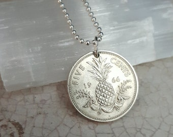 Pineapple necklace - Vintage Bahamas PINEAPPLE coin necklace - Carmen Miranda - fruit necklace - island fruits - choose year