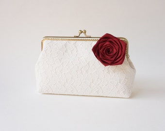 Fall wedding red clutch, create a keepsake for your bridesmaids - You Choose Lining, Flower, and Personalization