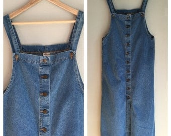 Denim overall dress size large