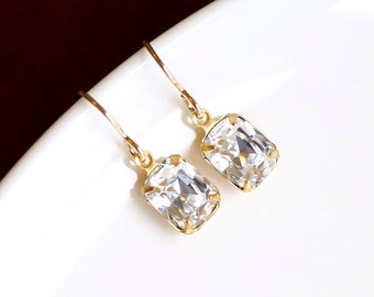 Gold Bridesmaid Earrings, Vintage Diamond Crystal Earrings Gold Birthstone Earrings April Birthstone Bridal Jewelry Swarovski Earrings