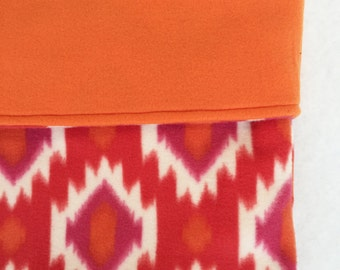 Dog or Cat Burrow Bag, Sleeping Bag, Snuggle Sack, Orange, Pink, and White, Soutwest Print with Orange Fleece Lining