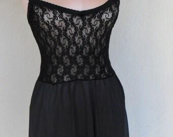 Vintage Lace Stretch Bodice Slip Dress by BestForm Size 36 Black