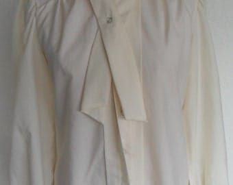 Vintage Judy Bond Blouse Size 8 Cream Polyester Long Sleeve Secretary