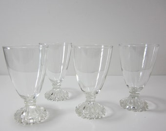 Vintage Glasses Candlewick Anchor Hocking Berwick Boopie Bead Glasses,  Set of Four, Drinkware,