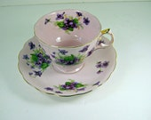 Vintage VIOLET TEA CUP Saucer Pink w/ Purple Flowers Hand Painted Lefton China Party