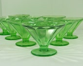 Vintage GREEN DEPRESSION Glass Sherbet Set/7 VASELINE Panel Optic Federal Uranium Glows!