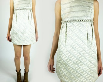 Vintage 1960s White and Metallic Silver Quilted Beaded Sleeveless Super Short Mini Shift Dress Size XS Extra Small