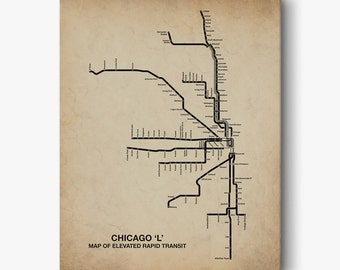 Vintage Inspired Chicago CTA Map, Chicago Wall Art, Chicago Map, Chicago Canvas Art