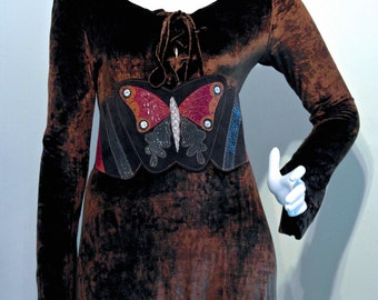 Vintage 1970s BUTTERFLY SNAKESKIN Applique Waspee Corset Style Extra Wide Hippie Belt // Glossy Snakeskin and Deerskin Suede