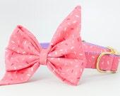 Pink Sugar Sprinkles Belle Bow Dog Collar
