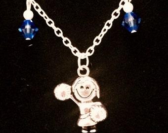 Cheerleader blue necklace