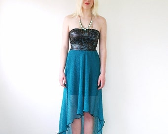 ON SALE Creased chiffon dress, strapless summer dress, animal print in teal blue and black, asymmetric hi lo dress