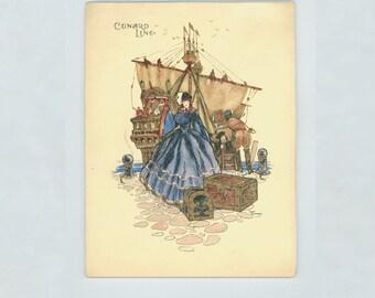 Cunard Line, R.  M.  S.  Mauretania Ocean Liner, Dinner Menu with cover art by John Gordge Souvenir Ephemera Elegant Lady & Old Sailing Ship