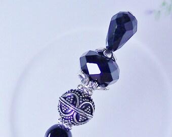 Ladies Hat Pin Silver Bali Bead Black Crystals Victorian Inspired  Free Gift Box!