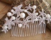 Starfish Wedding Hairpiece,  Beach Wedding, Crystal Pearl Starfish Hairclip,  Wedding Hair Comb,  Destination Wedding
