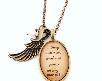 Isaiah 40:31.  ...They will run and not grow weary... Running Inspiration Necklace.