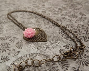 Valentines Jewelry/Brass heart Necklace with a Pink Carnation/Valentines Day