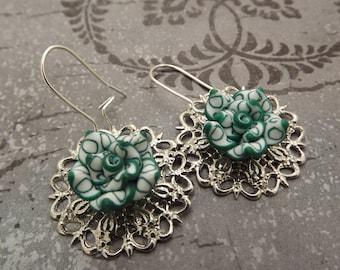 Green Flower on Filigree - St Patrick's Day Earrings