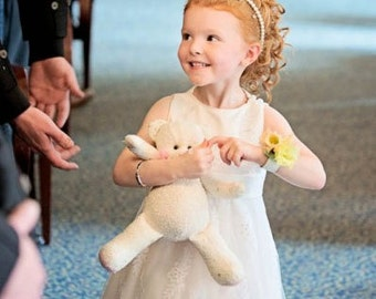Handmade OOAK bespoke flower girl teddy bear gift in ivory & pink. Custom order for a wedding.