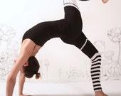 YOGA Leggings  - Black white Striped GARTER Legging - Polka Dot Striped Tights Legwear Womens Tights