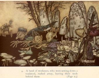 Vintage Print Arthur Rackham Illustration Peter Pan In Kensington Gardens