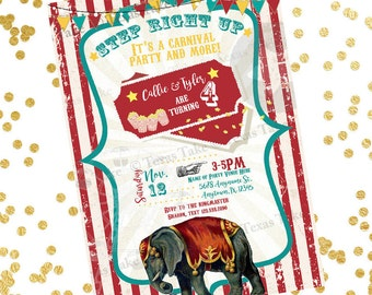 Carnival Birthday Invitation / Circus Printable Invite / Big Top Theme / Boy Girl Party / Twins, Triplets, Quadruplets / Multiples
