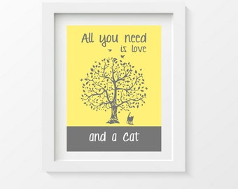 Cat Art Print, Cat Silhouette, All You Need Is Love And ACat, Tree, Modern Wall Decor