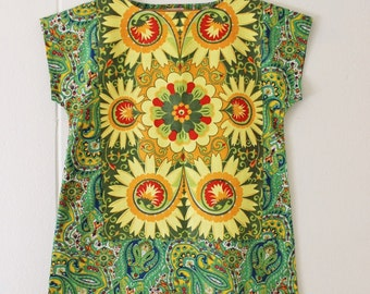 Upcycled Linen Womens Tunic  Dress Retro Eco Mini Mod Green Yellow Paisley Floral Cotton Large Plus