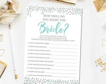 How Well Do You Know The Bride Printable Card Teal and Silver Bridal Shower Game Instant Download Bridal Shower Printable BR28