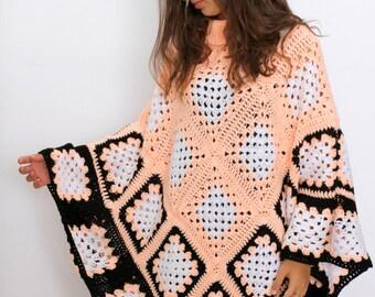 Extra Large Granny Square poncho pattern PDF Cape Pattern Women's poncho Easy crochet pattern crochet cape pattern