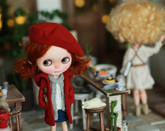 Miss yo 2016 Summer & Autumn - Autumn Coat type B for Blythe doll - dress / outfit - Red
