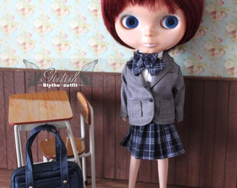 Girlish - Grey School Uniform outfit set for Blythe doll - dress / outfit