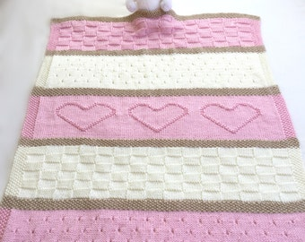 Baby Blanket Pattern, Knit Baby Blanket Pattern, Heart Baby Blanket Pattern, Crib Blanket - Knitting Pattern by Deborah O'Leary