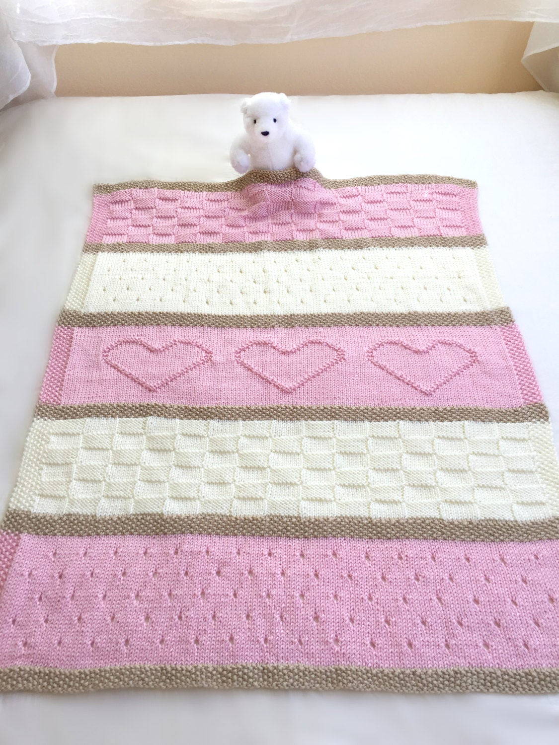 Knitting Blankets For Babies : Baby blanket pattern knit heart