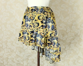 "Doctor Who High Low Mini Cecilia Skirt -- Exploding T.A.R.D.I.S. Van Gogh Print -- Custom Made -- Fits Up To 52"" Waist"