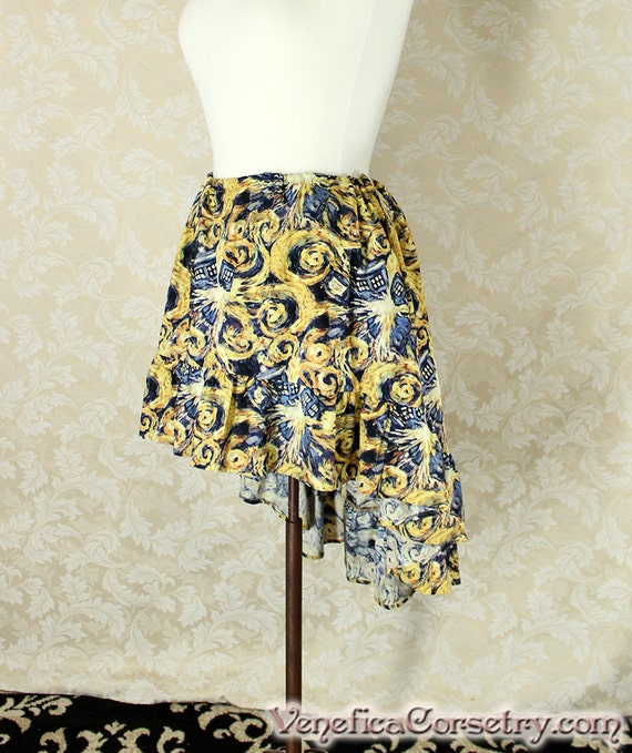 """Doctor Who High Low Mini Cecilia Skirt -- Exploding T.A.R.D.I.S. Van Gogh Print -- Custom Made -- Fits Up To 52"""" Waist"""