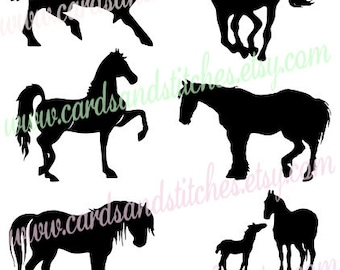 Horse Silhouettes SVG - Horses SVG - Horse Lovers - Digital Cutting File - Silhouette Cameo - Instant Download - Svg, Dxf, Jpg, Eps, Png
