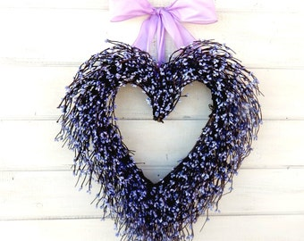 Wedding Decor-Wedding Wreath-Heart Wreath-Weddings-Purple Heart Wreath-Mothers Day Wreath-Gift for Mom-Wedding Gift-Valentines Day Wreath