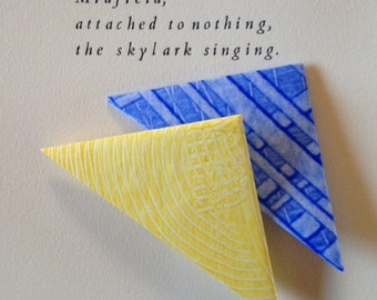Origami Page Corner Bookmarks-Blue & Yellow