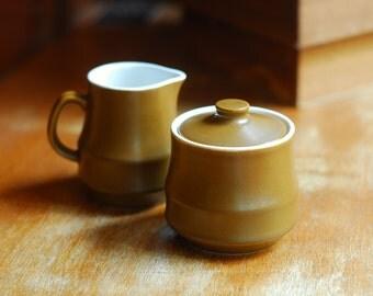 vintage mid century japanese stoneware cream and sugar set