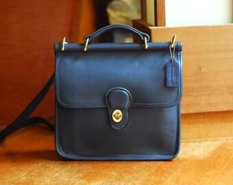 vintage COACH navy blue leather purse / coach Willis bag